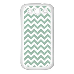 Jade Green And White Zigzag Samsung Galaxy S3 Back Case (white)