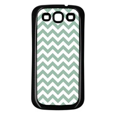 Jade Green And White Zigzag Samsung Galaxy S3 Back Case (black)