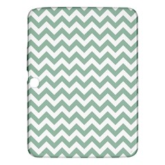 Jade Green And White Zigzag Samsung Galaxy Tab 3 (10.1 ) P5200 Hardshell Case