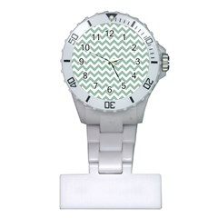 Jade Green And White Zigzag Nurses Watch