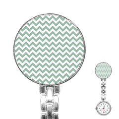 Jade Green And White Zigzag Stainless Steel Nurses Watch