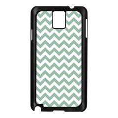 Jade Green And White Zigzag Samsung Galaxy Note 3 N9005 Case (Black)