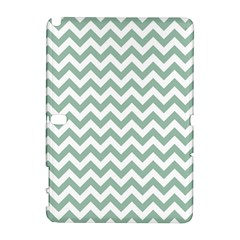 Jade Green And White Zigzag Samsung Galaxy Note 10.1 (P600) Hardshell Case
