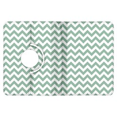Jade Green And White Zigzag Kindle Fire HDX 7  Flip 360 Case
