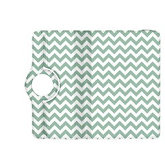 Jade Green And White Zigzag Kindle Fire Hdx 8 9  Flip 360 Case