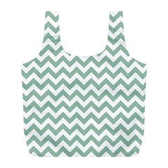 Jade Green And White Zigzag Reusable Bag (L)