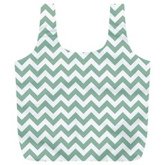 Jade Green And White Zigzag Reusable Bag (XL)