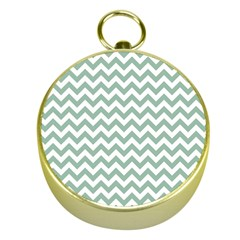 Jade Green And White Zigzag Gold Compass