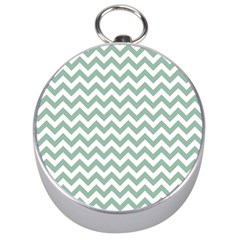 Jade Green And White Zigzag Silver Compass