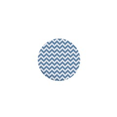 Blue And White Zigzag 1  Mini Button Magnet