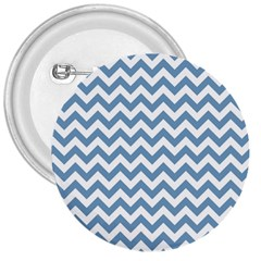 Blue And White Zigzag 3  Button