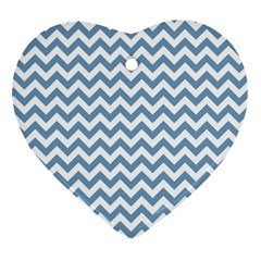 Blue And White Zigzag Heart Ornament