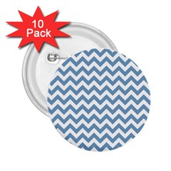 Blue And White Zigzag 2.25  Button (10 pack)