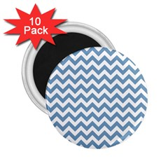 Blue And White Zigzag 2.25  Button Magnet (10 pack)