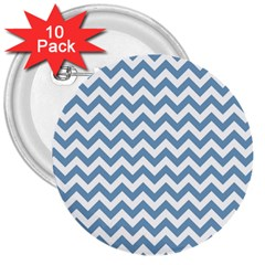 Blue And White Zigzag 3  Button (10 pack)