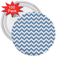 Blue And White Zigzag 3  Button (100 pack)