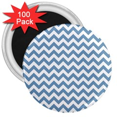 Blue And White Zigzag 3  Button Magnet (100 pack)