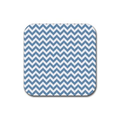 Blue And White Zigzag Drink Coasters 4 Pack (square)