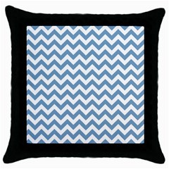 Blue And White Zigzag Black Throw Pillow Case