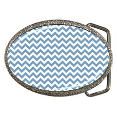Blue And White Zigzag Belt Buckle (Oval)