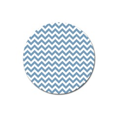 Blue And White Zigzag Magnet 3  (Round)