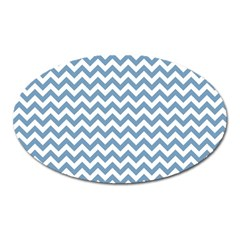 Blue And White Zigzag Magnet (Oval)