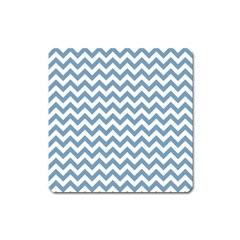 Blue And White Zigzag Magnet (Square)