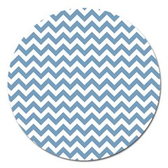 Blue And White Zigzag Magnet 5  (Round)