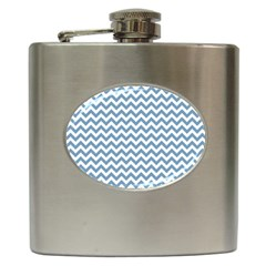 Blue And White Zigzag Hip Flask