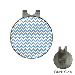 Blue And White Zigzag Hat Clip With Golf Ball Marker