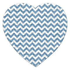 Blue And White Zigzag Jigsaw Puzzle (Heart)