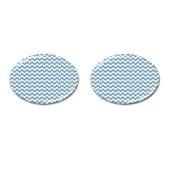 Blue And White Zigzag Cufflinks (Oval)