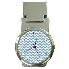 Blue And White Zigzag Money Clip with Watch