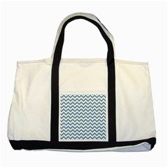 Blue And White Zigzag Two Toned Tote Bag
