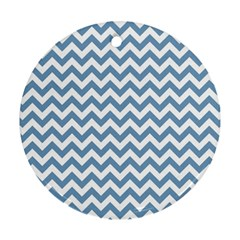 Blue And White Zigzag Round Ornament (two Sides)