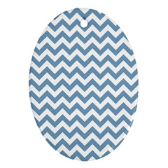 Blue And White Zigzag Oval Ornament (two Sides)