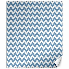 Blue And White Zigzag Canvas 8  x 10  (Unframed)