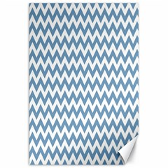 Blue And White Zigzag Canvas 20  x 30  (Unframed)
