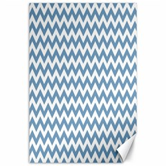 Blue And White Zigzag Canvas 24  x 36  (Unframed)