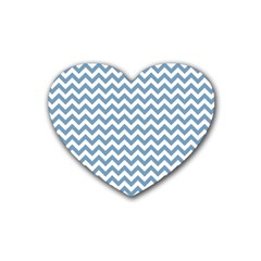 Blue And White Zigzag Drink Coasters 4 Pack (Heart)