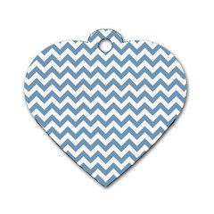 Blue And White Zigzag Dog Tag Heart (One Sided)