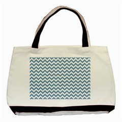Blue And White Zigzag Twin-sided Black Tote Bag