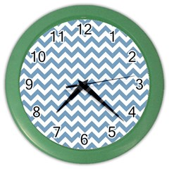 Blue And White Zigzag Wall Clock (Color)