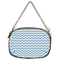 Blue And White Zigzag Chain Purse (One Side)