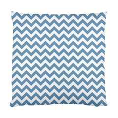 Blue And White Zigzag Cushion Case (two Sided)