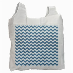 Blue And White Zigzag White Reusable Bag (One Side)