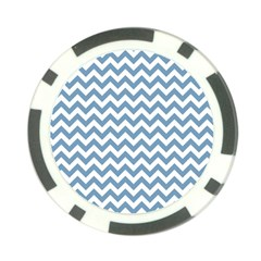 Blue And White Zigzag Poker Chip (10 Pack)
