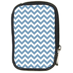 Blue And White Zigzag Compact Camera Leather Case