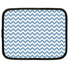 Blue And White Zigzag Netbook Sleeve (xl)