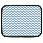 Blue And White Zigzag Netbook Sleeve (XXL) Front